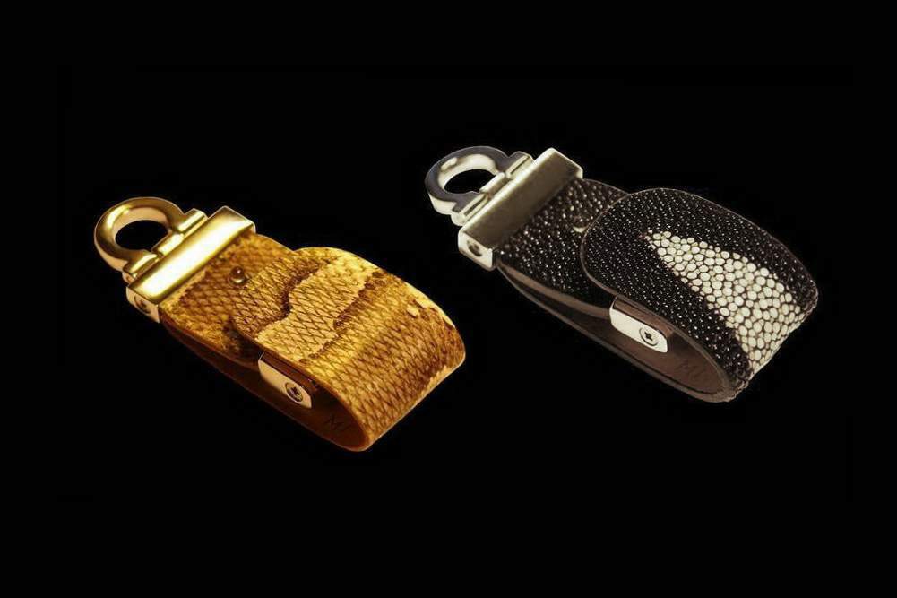 MJ - USB Flash Drive Leather Edition - Python & Stingray Skin, Gold 777