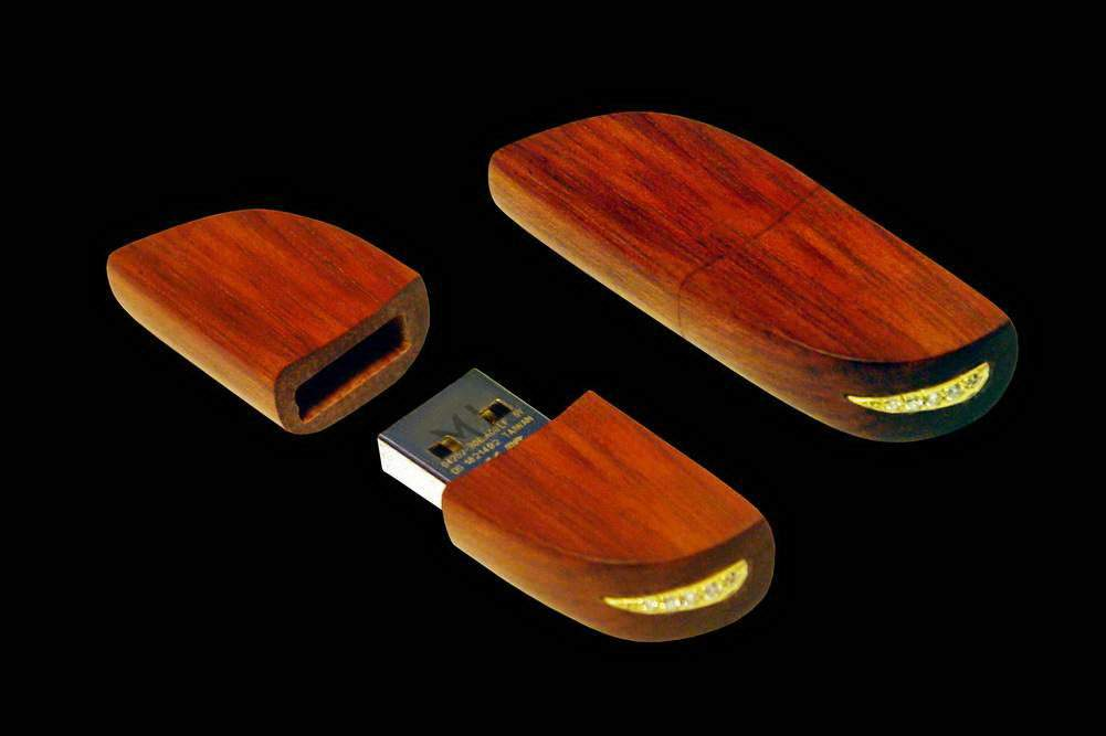 MJ - USB Flash Drive Wood Luxury Edition - Mahogany Wood, Gold 777, Diamonds.