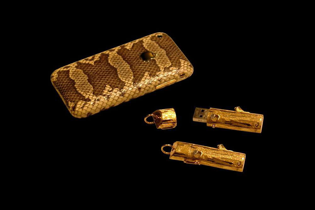 MJ - USB Flash Drive Gold 777 Diamond Limited Edition - Gold Diamond Super Fast 32gb & Apple iPhone Leather Gold