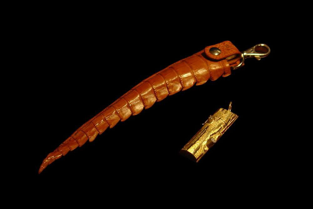 MJ - USB Flash Drive Leather & Gold Edition - Crocodile Tail, Gold, Diamond