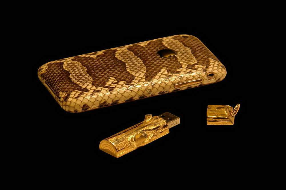 MJ - USB Flash Drive Gold Wood 777 Diamond Edition - Solid Gold 777, Diamonds. (with Apple iPhone Python Gold)