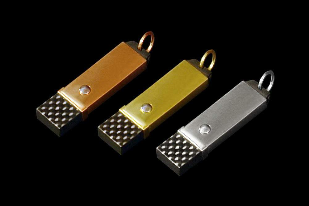 "MJ - USB Flash Drive ""Gentlemen of the Future"" - Carbon Flash, Three Types of Gold: Red, Yellow and White. Inlaid Unique Diamonds, Palladium & Platinum."