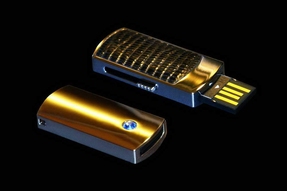 MJ Flash Drive VIP Iguana Leather Limited Edition - Pure Gold 24k incrusted Swarovski Blue Crystal